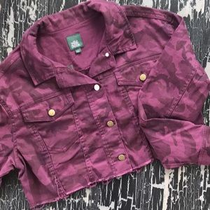 NWT Wild Fable Burgundy Camo Cropped Jacket
